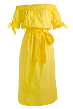 This mellow yellow off-the-shoulder dress from J. Crew is perfect for a summer night on the town.