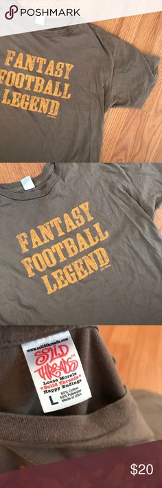 v i n t a g e | thin fantasy football legend tee Vintage brown Light and thin FANTASY FOOTBALL LEGEND graphic t-shirt. Size large, could fit a medium As well. Great condition — no flaws or defects.thin cotton fabric, super comfortable. Tag is Solid threads.   ALL ITEMS ARE CLEANED & COME FROM A COMPLETELY SMOKE FREE HOME! #smokefree  #winter #sale #clearance #gift #present #vintage #vtg #retro  #brown #thin #football #nfl #legend #fantasyfootball Vintage Shirts Tees - Short Sleeve