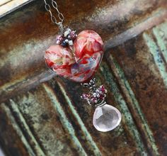 Heart Necklace   Glass And Gemstone  The Jack by JewelsByLDesigns, $105.00