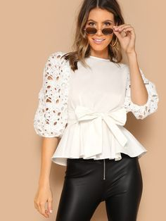 Button Back Laser Cut Knotted Peplum Top Casual Chic Outfits, Chic Summer Outfits, Cool Outfits, Basic Style, My Style, Pop Fashion, Womens Fashion, Kids Wardrobe, Dress Patterns