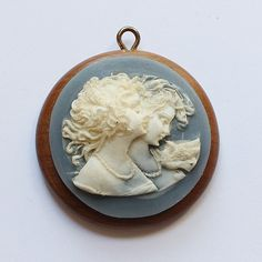 Vintage Wood Wooden Cameo Pendant by paststore on Etsy