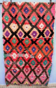 Vintage Moroccan Boucherouite Rag Rug Contemporary Design 180 X 105cm Ebay
