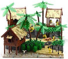 Lego Model : A humble village containing a luxurious treasure Lego Minifigs, Lego Ninjago, Legos, Lego Beach, Lego Table Ikea, Pirate Lego, Lego Craft, Beach Wood, Lego Room