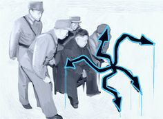 Pikaso: Kim Dzong Un recognized graffiti; 2013, print and painting medium on canvas, 140 x 100 cm