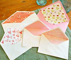 Make Your Own Last Minute Valentine's Day Cards and Lined Envelopes! | One Good Thing by Jillee