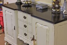 Buffet in Antique White and Java Gel Stain Java Gel Stains, Vintage Sideboard, General Finishes, Milk Paint, Color Combos, Buffet, Flooring, Top Coat, Antiques