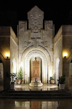 Armenian Cathedral in  Deir ez-Zor.    Armenians have had a long history in Syria, most arrived there during the Armenian Genocide of 1915 committed by the Ottoman Empire.