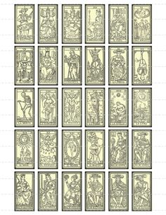 """""""vintage tarot cards"""" that I would like to redo one day as a major project -- pretty, with all the little hints on the card as to how they are read (upside-down and right-side-up hints) as well as the full set, not just the major arcana as shown here"""