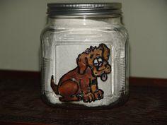 Hand Painted Dog Treat Jar Glass Dog Treat Jar por cjscraftycorner2, $12.00