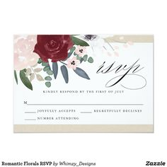 Romantic Florals RSVP Card 3.5 x 5 Romantic Florals RSVP response card. Customizable. Part of a wedding collection
