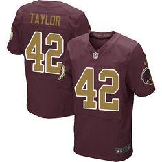 Nike Elite Charley Taylor Burgundy Red Men's Jersey - Washington Redskins #42 NFL 80th Anniversary Alternate