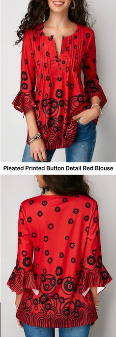 Pleated Printed Button Detail Red Blouse   #liligal #blouse #shirts #top #womenswear #womensfashion
