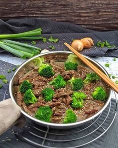 Beef and Broccoli - Instakoch. Broccoli Beef, Wok, Allrecipes, Asparagus, Green Beans, Grilling, Garlic, Clean Eating, Meat