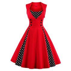 S-5XL Women Robe Pin Up Dress Retro 2017 Vintage 50S 60S Rockabilly Dot Swing Summer Female Dresses Elegant Tunic Vestid