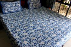 Indian Hand Block Print Cotton Bedspread Queen Size Bedsheet With 2 Pillow Cover #Handmade #Asian
