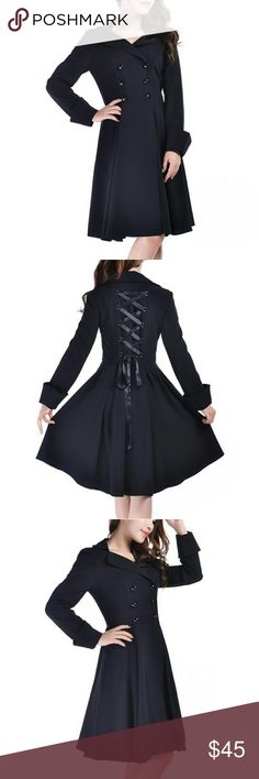 Long Black Corset Back Victorian Gothic Pea Coat S This gorgeous pea coat has a double breasted, button up design, vintage style lapels, fold over cuffs, full knee length skirt and a corset inspired lace up back. Medium weight perfect for fall and spring. Size small, brand new with tags. Chicstar Jackets & Coats Pea Coats