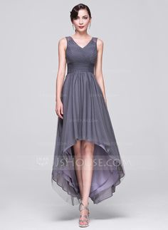 A-Line/Princess V-neck Asymmetrical Tulle Evening Dress With Ruffle Beading Sequins (017070268)