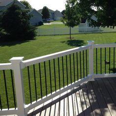 H x 8 ft. W White Vinyl Railing - The Home Depot Weatherables Bellaire 3 ft. H x 8 ft. W White Vinyl Railing Kit - - The Home Depot Vinyl Deck Railing, Deck Railing Design, Deck Railings, Deck Design, Railing Ideas, Outdoor Railings, Front Porch Railings, Backyard Patio, Backyard Landscaping