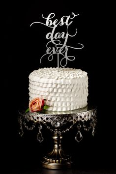 Best Day Ever Wedding Cake Topper by BetterOffWed on Etsy