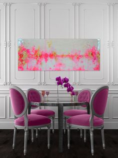 white dining room, pink and gold abstract painting with real gold leaf