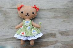 Teddy Bear Doll Pattern * Felt Doll Sewing Pattern * Make a 4 Inch Tall Mini Bear Doll - pinned by pin4etsy.com