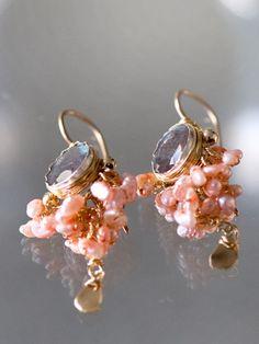 earrings 'Goddess', pink pearls - Ottomania