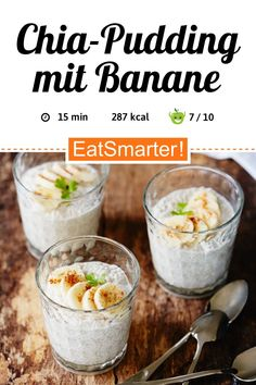Perfect for the office: chia pudding with banana – low-calorie – quick recipe – simple dish – the recipe is so healthy: / 10 Quick Recipes, Healthy Recipes, Scones Ingredients, Superfood Recipes, Vegan Blueberry, Vintage Recipes, Clean Eating, Food Inspiration, Delicious Desserts