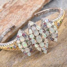 Ethiopian Welo Opal, Tanzanite, Mahenge Pink Spinel, and Russian Diopside Cuff in 14K Yellow Gold and Platinum Overlay Sterling Silver (Nickel Free)