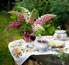 Lovely Lupins add a special touch for tea in the garden.