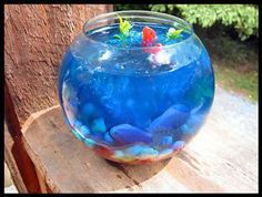 This is a guide about making a Jello fishbowl. When looking for a fun dessert for kids to help make and eat, consider this cute Jello fish bowl.