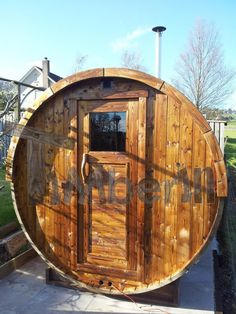 Outdoor barrel sauna, Peter K Murray, Galashiels, UK Garden Ideas Uk, Peter K, Barrel Sauna, Hot Tub Backyard, Hot Tubs, More Pictures, Fire, Detail, Landscape