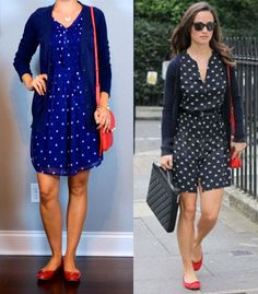 outfit post: blue polka-dot dress, navy boyfriend cardigan, red bow flats…