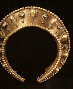 Kokoshnik, modern.  Gold fabric, pearls, rhinestones.  Reminiscent of a kokoshnik worn by Grand Duchess Vladimir, only with inverted pearl drops.