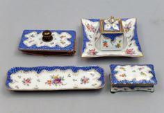 Dresden porcelain hand painted four piece desk set : Lot 6