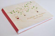 livre d'or de mariage personnalisé de bois / laser album gravé