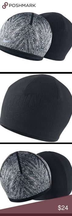 Nike Pro black print running hat NWT fleece Black and white reversible fleece hat NWT Nike Accessories Hats