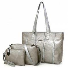 Braid 3 Pieces Quilted Handbag Set