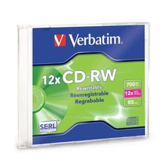 Verbatim 12x CD-RW Media - 700MB - 120mm Standard - 1 Pack Slimline Jewel Case by Verbatim. $3.83. CD-RW utilizes an advanced super-eutectic phase change recording layer which ensures durability and reliability while archiving data at higher rewrite speeds. Offers 700MB and 80 minute capacity. Certified 4X to 12X ultra speed rewrite compatibility and a branded surface. CD-RW allows you to rewrite data without errors up to 1,000 times. Read compatible with multi-read C...