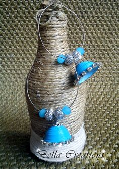 Blue Quilled Jhumkas