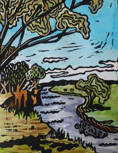 Hand coloured lino Print