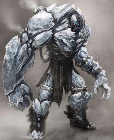 Ice Golem Zombie concept for Infamous 2 Monster Design, Monster Art, Ice Monster, Character Concept, Character Art, Character Design, Creature Feature, Creature Design, Fantasy Creatures