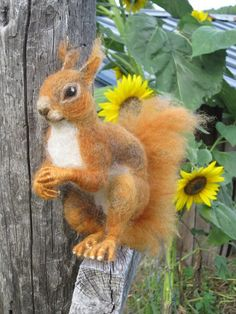 Needle felted Red Squirrel ready to ship by Ainigmati on Etsy, $125.00