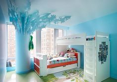 Amazing Blue Theme and Bunk Beds Furniture with Stairs in Kids Small Bedroom Paint Decorating Design Ideas Bright Kids Bedroom Painting Ideas in Modern Bunk Beds Furniture Teenage Girl Bedrooms, Girls Bedroom, Bedroom Decor, Bedroom Ideas, Childrens Bedroom, Bedroom Furniture, Small Bedrooms, Bed Ideas, Blue Bedrooms