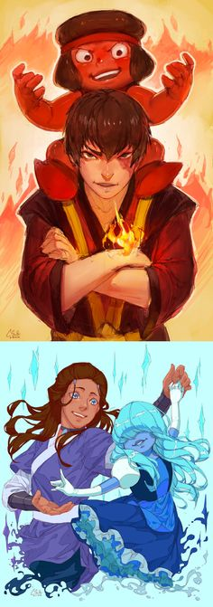 ┐( ̄ヮ ̄)┌ too much love…cannot contain    tags: avatar the last airbender, steven universe, zuko, katara, sapphire, ruby, these two shows are my fav at the moment, my stuff,