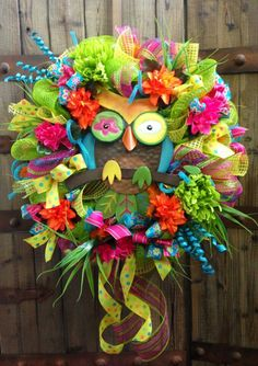 made this owl wreath for Toni's Origami Owl jewelry bar Owl Wreaths, Deco Mesh Wreaths, Holiday Wreaths, Origami Owl New, Origami Owl Business, Owl Crafts, Flower Crafts, Diy Wreath, Wreath Ideas