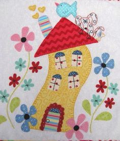 Wonky house with bird and dog, applique quilt block