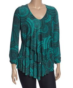 Another great find on #zulily! Green & Black Geometric Tiered Scoop Neck Top - Plus #zulilyfinds
