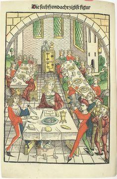 Schatzbehalter, 1491 86. Figur Medieval Music, Medieval Books, Medieval Life, Medieval Castle, Medieval Art, Renaissance Art, Table Sketch, Isabella Of Castile, Medieval Banquet