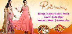 Raksha Bandhan Rakhi and Diwali special sarees and dresses and kurtis online shopping with discount offer price sale at pavitraa