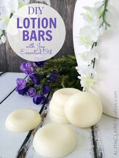 Homemade Lotion Bars with Joy Essential Oil - super moisturizing, easy to make and no added chemicals! #YoungLiving